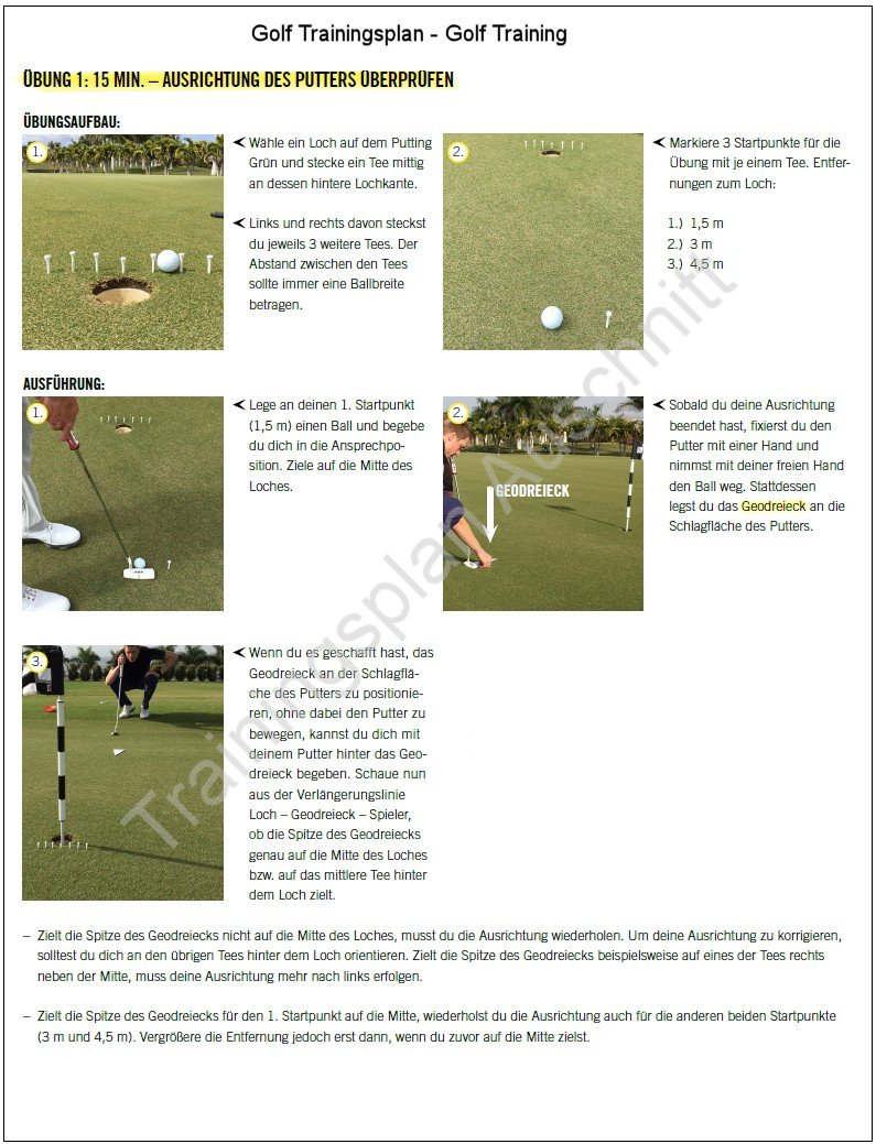 Golf Trainingsplan